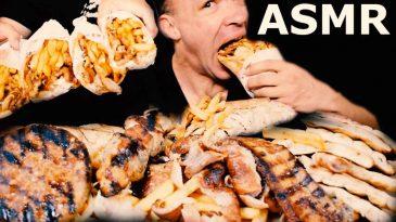 ASMR MUKBANG GREEK STREET FOOD BEST OF COMPILATION SAVAGE EATING COMBO-LOW