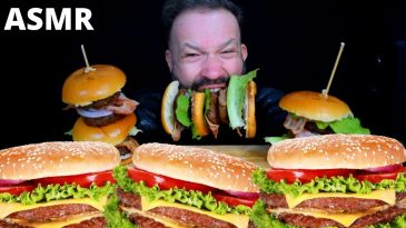 3 HUMONGUS BURGERS ASMR MAKING & EATING THEM BACON GREENS NO TALKING MUKBANG SHOW